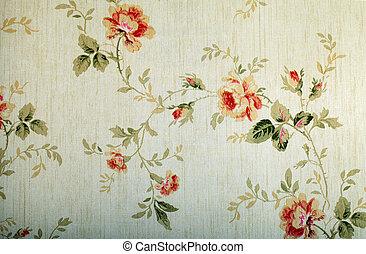 vendimia, victoriano, papel pintado, con, patrón floral
