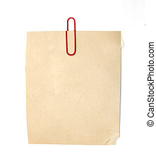 vendimia, viejo, papel, textura, con, clip, a, plano de fondo