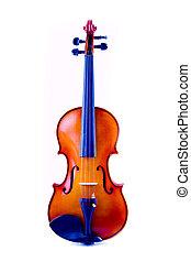 vendimia, violín, encima, fondo blanco