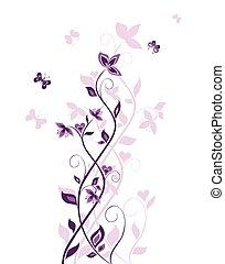 vendimia, violeta, árbol