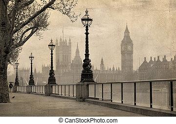 vendimia, vista, de, londres, big ben, y, cámaras del parlamento