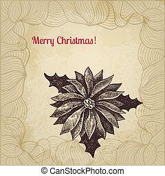 vendimia, winterberry, mano, vector, dibujado, tarjeta de ...