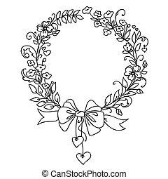 vendimia, wreath., mano, vector, floral, dibujado
