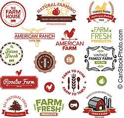 vendimia, y, moderno, granja, etiquetas