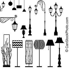vendimia, y, moderno, lámpara, vector, conjunto