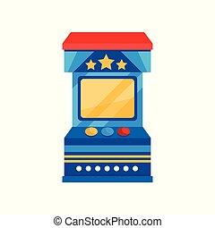 vending, arcada, ilustração, máquina, jogo, vetorial, fundo, branca