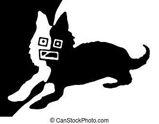 Vending Dog - monochrome retro dog
