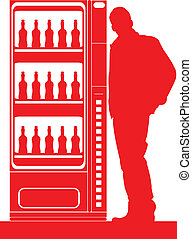 Vending machine. - A guy with a drinks vending machine.