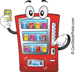 Mascot Illustration Featuring a Vending Machine