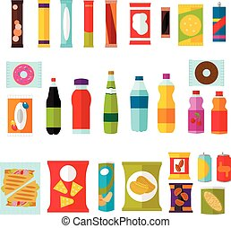 Vending machine product items set. Vector illustration in flat style. Food and drinks design elements, icons