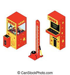 Vending machine pullout toys, arcade game machine and Test your strength