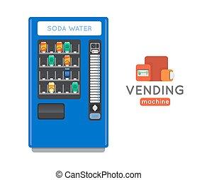 Vending machine  set. Sell snacks and soda drinks vending machines. Vending machine credit card pay. Vending machine merchandising.