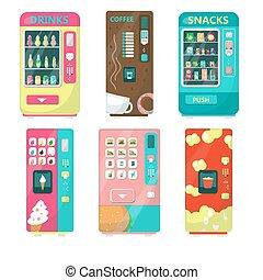 Vending machine set, vector flat isolated illustration