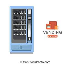 Vending machine vector set. Sell snacks and soda drinks vending machines. Vending machine with copropriete. Vending machine credit card pay. Vending machine merchandising.