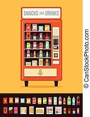 Vending machine with food. Vector flat cartoon illustration