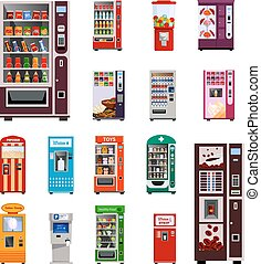Vending Machines Icons Set - Vending machines icons set with...