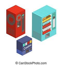 Vending machines isometric set vector illustration