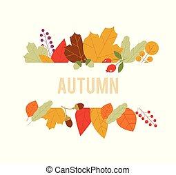 vendita, acero, fondo., autunno, disegno, composition., foglia, vector., bandiera, modello, fogliame