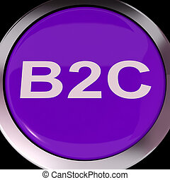 vendita, affari, mezzi, consumatore, bottone, b2c, o,...