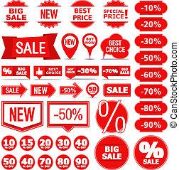 vendita, bandiere, etichette, e, adesivi