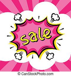 vendita, cartone animato, discorso, fondo, comico, bolla,...