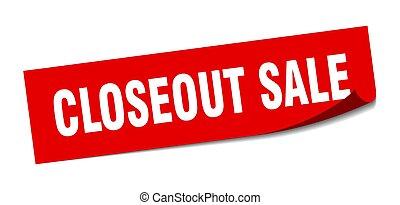 vendita, closeout, peeler, sale., segno., sticker., quadrato