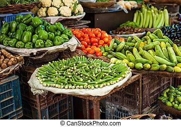 vendita, coltivatore, verdura, asiatico, fresco, mercato