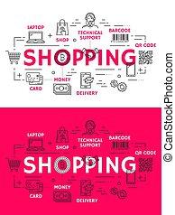 vendita dettaglio fa spese, contorno, icone