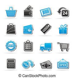 vendita dettaglio fa spese, icone