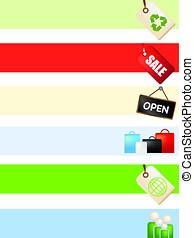 vendita dettaglio, negozio linea, bandiera, annuncio, fondo, set
