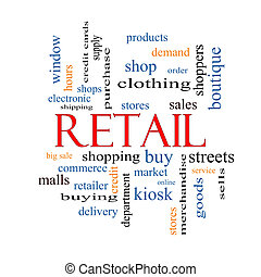 vendita dettaglio, parola, nuvola, concetto
