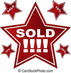 vendita dettaglio, stella, etichetta