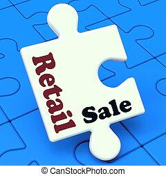 vendita dettaglio, vendita, puzzle, mostra, consumatore, vendita, o, vendite
