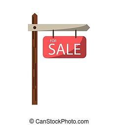 vendita, disegno, isolato, segno strada