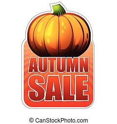 vendita, etichetta, autunno, vec, cadere, zucca