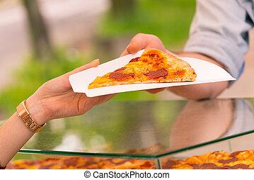 vendita, fetta, uomo, pizza