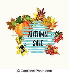 vendita, foglie, autunno, bacche, bandiera, zucca