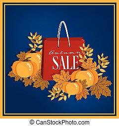 vendita, foglie, cadere, shopping, pumpkin., banner., autunno, borse, speciale, testo