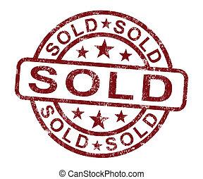vendita, francobollo, venduto, acquisto, o, mostra