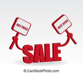 vendita, illustrazione, 3d