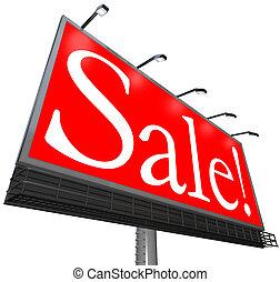 vendita, parola, esterno, pubblicità, tabellone, spazio, speciale, prezzo