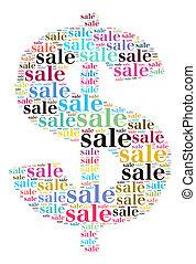 vendita, parola, nuvola, concetto