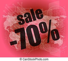 vendita, percentuale, su, affari, digitale, schermo tocco