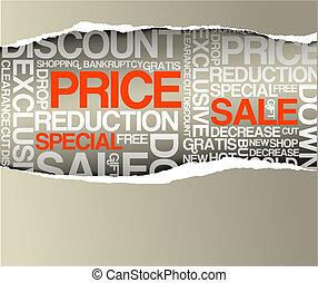 vendita, scontare, annuncio pubblicitario