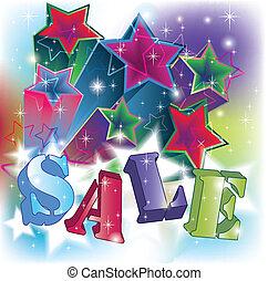 vendita, testo, su, un, energetico, stelle, fondo