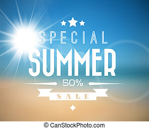 vendita, vettore, estate, manifesto