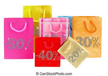 vendite, borse da spesa, isolato, bianco