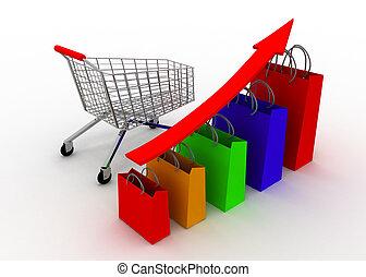vendite, crescere, grafico, con, carrello
