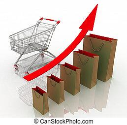 vendite, crescita, chart., presentare, uno, prendere,...