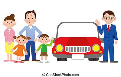 venditore automobile, famiglia